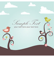 Birds and flowers card vector image