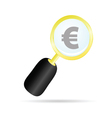 magnifier with euro color vector image