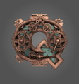 q rusted letter with gears vector image