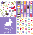 Set of cute seamless easter background patterns vector image vector image