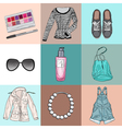 stylish fashion set of womans clothes accessories vector image