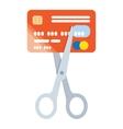 Scissors cut credit card icon vector image