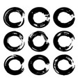 abstract black circles brush strokes isolated on a vector image