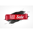 Black realistic curved paper banner Ribbon Black vector image