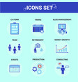 business icons set team strategy growth consulting vector image