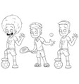 cartoon football tennis players character set vector image