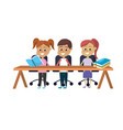 children student sitting in the wood desk vector image