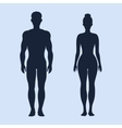 Man and woman standing silhouettes vector image