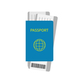 Passport and two air boarding pass ticket icon vector image