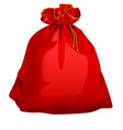 red tied closed full santa bag with gifts vector image