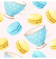 Seamless teacups and macarons vector image