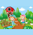 two girl rollerskate in the farmyard vector image