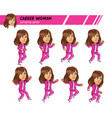 jumping career woman game sprite vector image