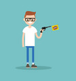 young character holding a toy gun with a bang vector image