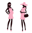 Two fashionable and pregnant woman vector image vector image