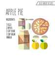 colorful of flat design style apple pie reci vector image