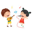 of kids playing music and sing vector image