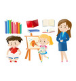 teacher and students with school objects vector image