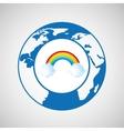 weather forecast globe rainbow cloud icon graphic vector image