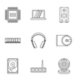 Computer data icons set outline style vector image vector image