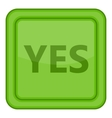 Yes green square label icon cartoon style vector image