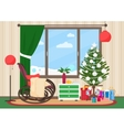 Christmas livingroom flat interior with rocking vector image