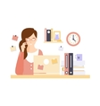 Thinking Woman Office Worker In Office Cubicle vector image