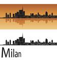 Milan skyline in orange background vector image vector image