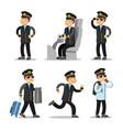 Airplane pilot cartoon character set vector image