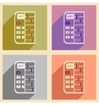 Modern collection flat icons with shadow abacus vector image
