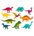 Dinosaurs cartoon collection emblems and vector image