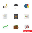 flat icon incoming set of parasol billfold vector image