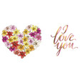 heart of colorful lilies and lettering i love you vector image