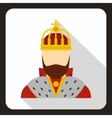 Medieval King icon flat style vector image