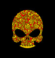 skull russian khokhloma folk traditional painting vector image