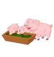 Happy farm pig family cartoon vector image vector image