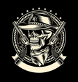 Cowboy Skull with Handguns vector image