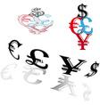 Symbols of world currencies vector image