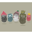 Fashionable print with group of owls for hipster t vector image
