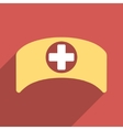Doctor Cap Flat Square Icon with Long Shadow vector image