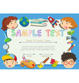 Certificate with children in background vector image