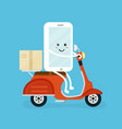 cute smiling happy smartphone mobile vector image