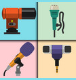 different microphones types cards journalist vector image