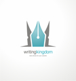 Logo design template with crown and pen vector image