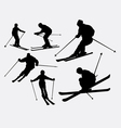 Skiing sport silhouette vector image