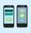 smart phone with flat payment interface vector image