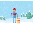 man in santa hat holding a sled flat winter vector image