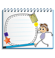 A notebook with a drawing of a boy walking with an vector image vector image