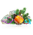 orange christmas ball with money vector image