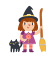 Little witch and her cat vector image vector image